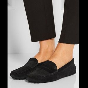 Tod's Gommino black suede loafers - 8